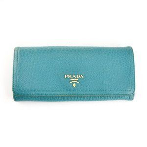 PRADA: Turquoise, Leather & Logo Folding Wallet mx